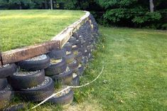 Idea, tactics, also resource when it comes to getting the greatest end result and coming up with the maximum usage of Hillside Landscaping Ideas Cheap Retaining Wall, Concrete Retaining Walls, Stone Retaining Wall, Landscaping Retaining Walls, Hillside Landscaping, Landscaping Ideas, Tyres Recycle, Recycled Tires, Old Tires