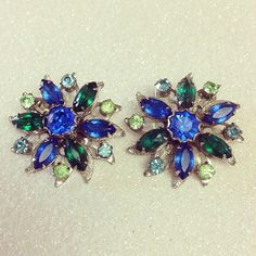 Vintage Earrings // Blue and Green Rhinestone Large Sparkly Flowers