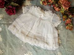 Baptism Dress Gown Antique Christening Set of 3 1940's White Satin Nylon Dress Baby Girl Boy Shower Gift Clothes Bloomers Gown  Underskirt