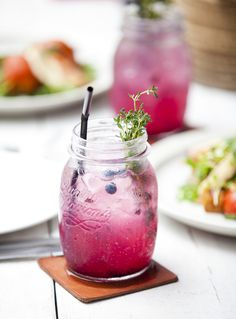 Make a farmhouse jam cocktail Blueberries, Lemonade, Thyme, Vodka, and Prosecco