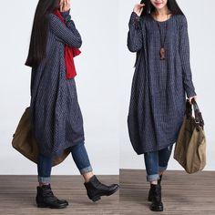 Casual Loose Fitting Long Sleeved Cotton Blend Long Dress Blouse- Women Maxi dress