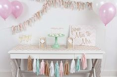 Pink and gold bridal shower party dessert table! See more party ideas at CatchMyParty.com!