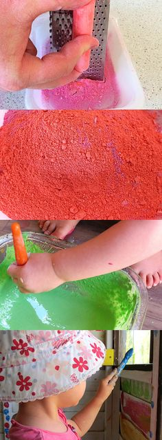 MAKE CHALK PAINT WITH KIDS: Simple to make chalk paint, great for creative play outdoors.