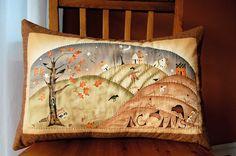 Folk Art Primitive Pillow Harvest Town by chimeracustomquilts, $25.00