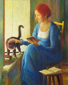 portrait of woman reading by unknown artist