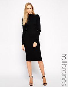 TTYA Ribbed Roll Neck Midi Dress