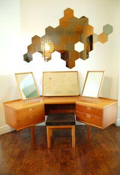 Wow! Mid Century Dressing Table with Triple Tilting Mirrors and Original Stool. 1960's. MCM