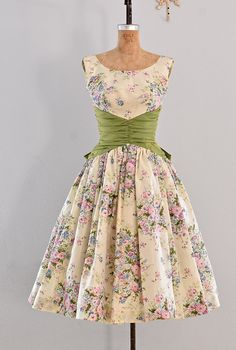 vintage 1950s dress party dress / floral print by PickledVintage
