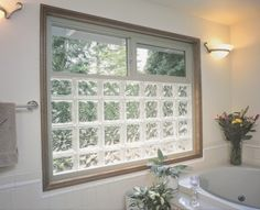 glass block window with casement window above - Google Search