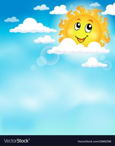 Sun on sky theme image 2 vector image on VectorStock Kids Background, Blue Sky Background, Cartoon Background, Frame Border Design, Page Borders Design, Preschool Classroom Decor, Preschool Art, School Board Decoration, Powerpoint Background Design