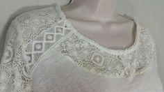 LAUREN CONRAD Ivory Raglan Sleeve Lace Top Knit Blouse Long Sleeve XL NWT $40…