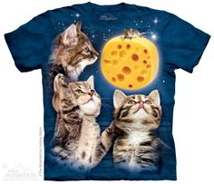 WOMEN'S T-SHIRT THREE KITTEN CHEESE MOON STONEWASHED MULTICOLORED SIZE MEDIUM #MOUNTAINBRAND #GraphicTee