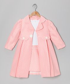 Take a look at this Gerson & Gerson Peach Polka Dot Dress & Coat - Girls by Gerson & Gerson on #zulily today!