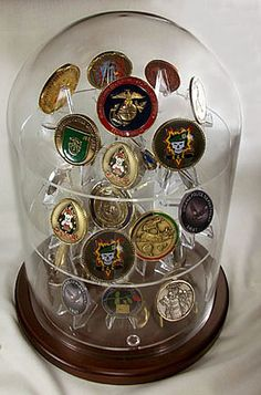 Coin Display Dome - x with Shelves, Challenge Coin Displays Glass Platform Coin Display Dome - Perfect for displaying military challenge coinsGlass Platform Coin Display Dome - Perfect for displaying military challenge coins Military Shadow Box, Military Wife, Navy Life, Navy Mom, Military Retirement Parties, Retirement Ideas, Retirement Gifts, Challenge Coin Display, Military Challenge Coins
