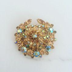 Vintage 1950s Gold Starburst Brooch with Aurora Borealis Stones | 50s Gold Brooch with Rhinestones by TheFrenchSeventyFive