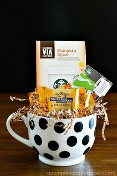 Mug of Goodies: Pick up a ceramic mug or French press from your local coffee shop and fill it with a gift card and any other treats you find on the shelves.  Find more fun and affordable last minute Christmas gift ideas for mom, dad, sister, bother, friends and grandparents. here.