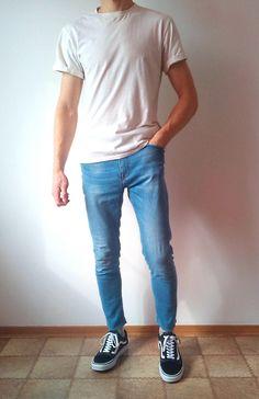 vans old skool skinny jeans boys guys outfit Blue Jeans Outfit Men, Vans Outfit Men, Blue Jean Outfits, Jeans Outfit Summer, Guys Jeans, Shirt Outfit, Vans Men, Men's Jeans, Style Casual