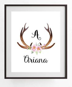 printable art Deer Antler with Pink Flowers Personalized with