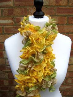 Items similar to Yellow/Camel/Green Ruffle Scarf, Multi colour Ruffle Scarf, Knit Ruffled Scarf on Etsy Ruffle Scarf, Scarf Knit, Spring Green, Camel, Knitting, Yellow, Creative, Handmade, Etsy