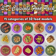 15 Food Model Pack: New much lower prices! A choice collection 15 Food Model Pack: Celebrating with a new much lower prices! Browse a choice collection delicious looking international food varieties. looking international food varieties. Food Pack, International Recipes, Entrees, Dining, Chart, 3d, Model, Collection, Kitchens