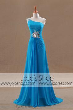 Grecian Goddess Blue Asymetrical One Shoulder Formal Prom Dress Pageant Dresses, Ball Dresses, Homecoming Dresses, Ball Gowns, Evening Dresses, Blue Wedding Dresses, Bridesmaid Dresses, Grecian Bridesmaid Dress, Wedding Gowns