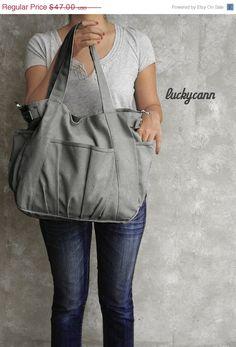SPRING SALE 20% OFF // Iris // Dark Grey / Lined with Beige / 051 // Mr. Highpants // Canvas Bag // Sale