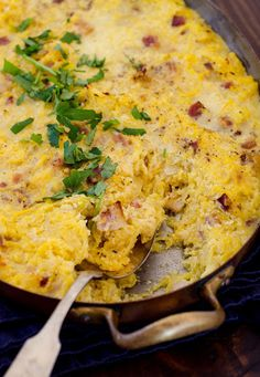 Baked Spaghetti Squash Carbonara With Spaghetti Squash, Bacon, Yellow Onion, Large Eggs, Ricotta Cheese, Parmesan Cheese, Salt, Black Pepper
