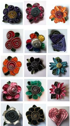 108 Best Crafts Jewelry With Upcycled Materials Felt Zipper - Jewelry Flowers Zipper Flowers, Felt Flowers, Diy Flowers, Fabric Flowers, Ribbon Flower, Ribbon Hair, Hair Bows, Zipper Jewelry, Fabric Jewelry