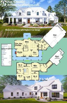 Introducing Architectural Designs Modern Farmhouse Plan 62668DJ! The front porch wraps three sides. An angled 3-car garage comes off the right side at an angle. And the vaulted master bedroom has an enormous walk-in closet.The home gives you over 3,400 square feet of heated living space.Ready when you are. Where do YOU want to build?