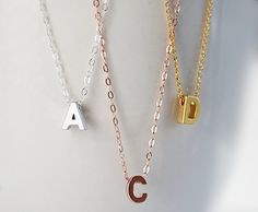 Initial Necklace - Personalized Necklace - monogram necklace - letter charm necklace - gold necklace - sterling silver - rose gold necklace by DaniqueJewelry on Etsy https://www.etsy.com/listing/126533158/initial-necklace-personalized-necklace