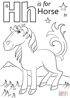 coloring pages - Letter H is for Horse coloring page Free Printable Coloring Pages Preschool Coloring Pages, Horse Coloring Pages, Coloring Sheets For Kids, Alphabet Coloring Pages, Free Printable Coloring Pages, Kids Colouring, Apple Coloring, Letter H Activities For Preschool, Preschool Learning