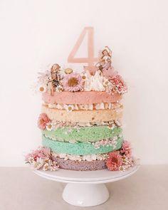 Rainbow fairy cake for a fairy obsessed four year old 🧚♂️🌈💫 Fairy Garden Cake, Garden Cakes, Fairy Cakes, Fairy Birthday Cake, Birthday Cake Girls, 4th Birthday, 1 Year Old Birthday Cake, 1 Year Old Cake, Birthday Ideas