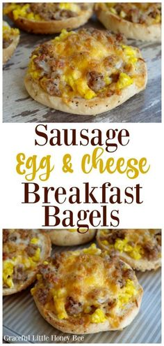 Try these super delicious Sausage, Egg and Cheese Breakfast Bagels for a quick, protein packed breakfast that everyone is sure to love! food recipes Sausage, Egg and Cheese Breakfast Bagels Breakfast And Brunch, Protein Packed Breakfast, Breakfast Dishes, Best Breakfast, Healthy Breakfast Recipes, Brunch Recipes, Healthy Recipes, Breakfast Casserole, Yummy Breakfast Ideas