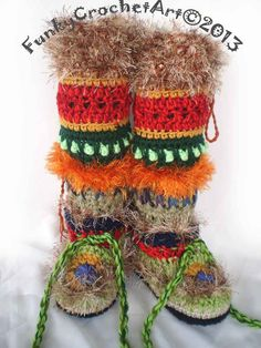Crochet Slipper Boots/ Leg Warmer Combo Awesome Fashion, Handmade, Knee High, Trendy, Multi colored, Hippy, OOAK, warm,Boho
