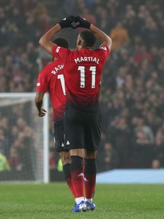 Anthony Martial of Manchester United celebrates scoring their first. Manchester United Wallpaper, Anthony Martial, Premier League Matches, Old Trafford, Arsenal Fc, Man United, The Unit, Camo Wallpaper, Celebrities