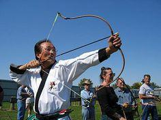 Master Heon Kim demonstrating Gungdo, traditional Korean archery (Kuk Kung), 2009