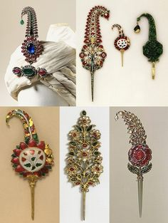 Indian Hair Pin or Turban Ornament Bodkin Style with Pierced Design and Glass…