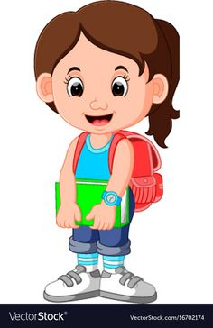 Cute girl go to school cartoon Royalty Free Vector Image Student Clipart, Student Cartoon, School Cartoon, School Clipart, Cartoon Kids, Cartoon Girl Images, Girl Cartoon, Art Drawings For Kids, Drawing For Kids
