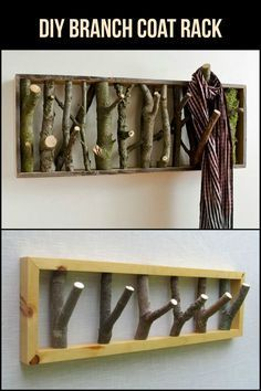 Branch Coat Rack Fallen tree branches are beautiful pieces. Why not put them to good use and make a DIY branch coat rack out of them?Fallen tree branches are beautiful pieces. Why not put them to good use and make a DIY branch coat rack out of them? Tree Branch Crafts, Tree Branch Decor, Tree Crafts, Craft Stick Crafts, Tree Branches, Tree Coat Rack, Diy Coat Rack, Coat Racks, Diy Rack