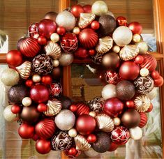 Red Brown and Champagne Christmas Ornament by MemphisMomWreaths, $65.00