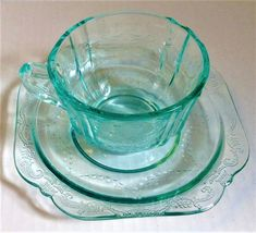 Teal Cup Saucer Madrid Depression Glass 30th Anniversary Remake by Federal Glass #FederalGlassCo #Federal