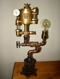 This is a one of a kind hand made industrial steampunk style lamp. A truly unique lamp would make an awesome addition to a loft or industrial décor room. You can buy them at Lowes or Home Depot. Industrial Light Fixtures, Industrial Décor, Industrial Lighting, Room Lamp, Décor Room, Steampunk Lamp, Steampunk Furniture, Large Lamps, Retro Lamp