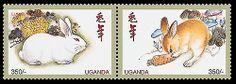 rabbit postal stamp, lunar new year Uganda