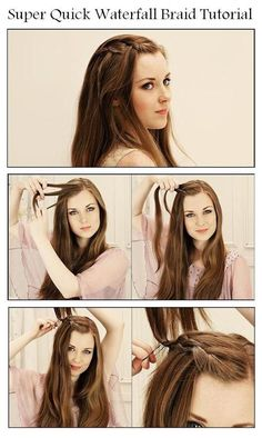 Super Quick Waterfall Braid - Hairstyles and Beauty Tips