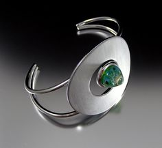 SATURN Blue Green Lampwork Cabochon Bangle by That by thatbeadgirl