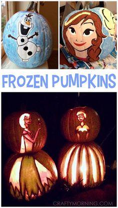 Amazing Disney Frozen Pumpkin Ideas - Kids will love Elsa, Anna, and Olaf for Halloween!