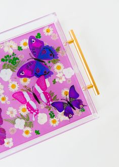 Pastel purple tray with purple and pink tray with white flowers. Great cocktail tray or living room tray for papers and decor accessories Bar Tray, Coffee Table Tray, Trays, Pastel Purple, Pink, Purple Interior, Baby Girl Nursery Decor, Purple Butterfly, Purple Backgrounds