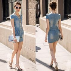 V-neck cowboy denim hip dreill dress,  more details: www.favechic.com, we are FREE SHIPPING and give you CASHVOUCHER only by subscribe ♥ #favechic #fashion #ootd #style #dress #best #top #korea #dress
