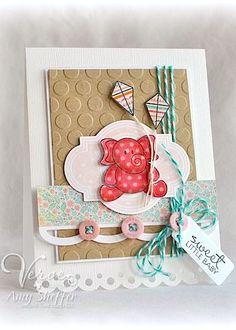 baby card, paper kites, buttons, paper crafts, die cutting