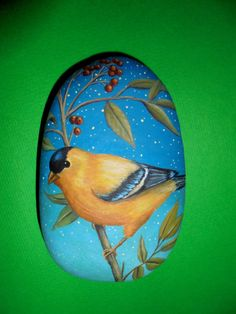 Hand Painted yellow bird Portrait Is Painted by KanetisStones